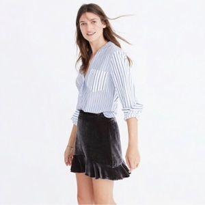 Madewell velvet ruffle trim skirt